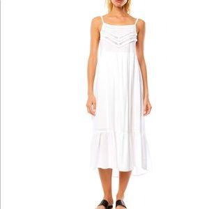 O'Niel Lexi Lace Trim White Midi Dress
